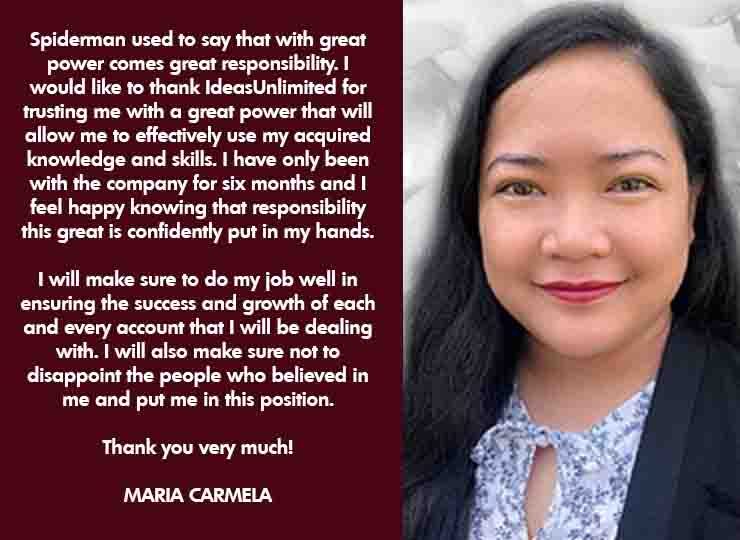 Maria Carmela- Promoted to Lead TL