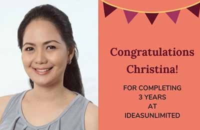 Christina third work anniversary at IdeasUnlimited