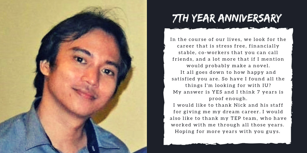 Erwin has completed 7 years at IdeasUnlimited