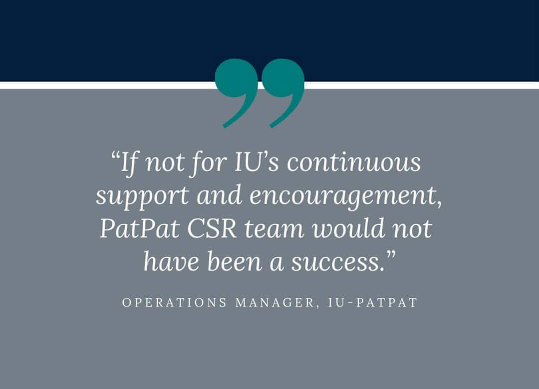 IU is responsible for the PatPat CSR team's success